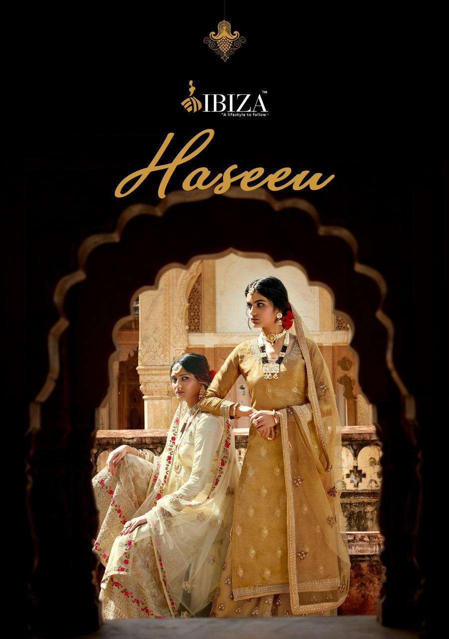 ibiza launch haseea russian silk embroidery sharara eid special salwar kameez