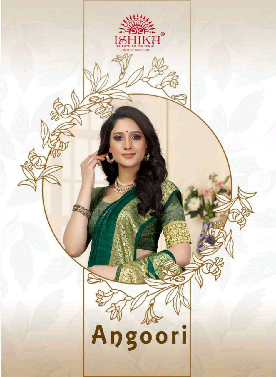 ishika saree angoori soft silk with resham border ethnic collection