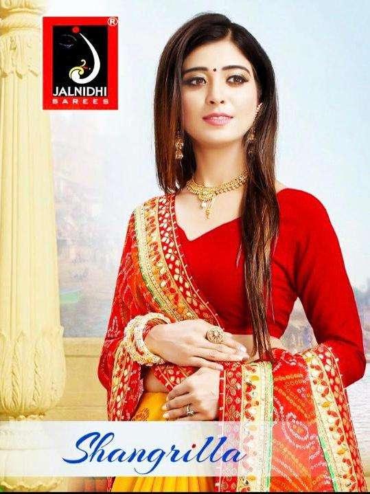 jalnidhi shangrilla moss chiffon half half bandhani saree wholesaler