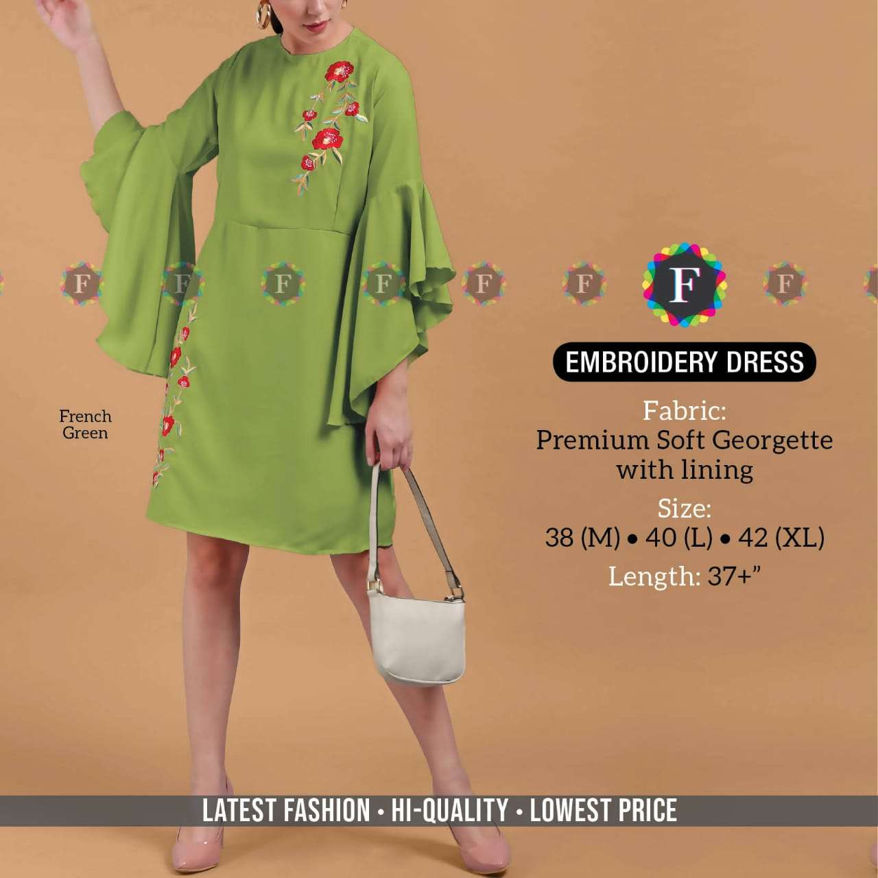 k4u embroidery dress western style georgette fabric tunic collection