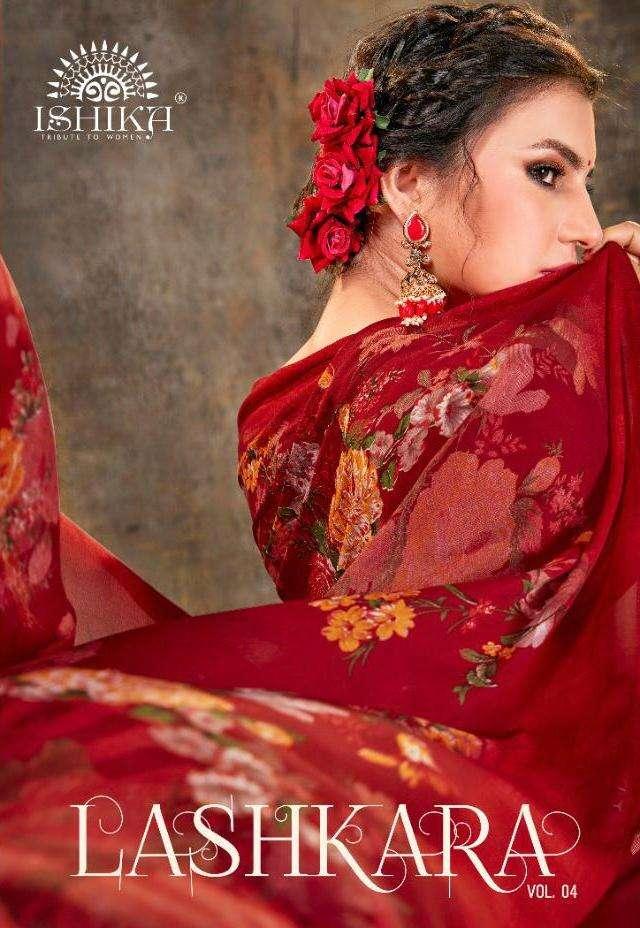 lashkara vol 4 by ishika georgette printed casual wear saree