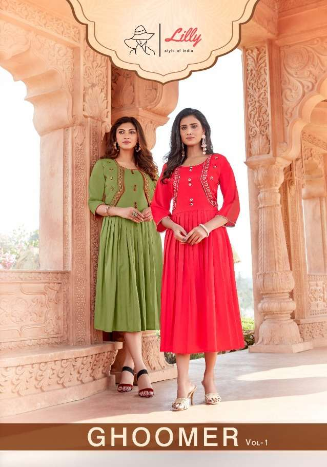 lilly ghoomer cotton midi style kurti with jacket collection