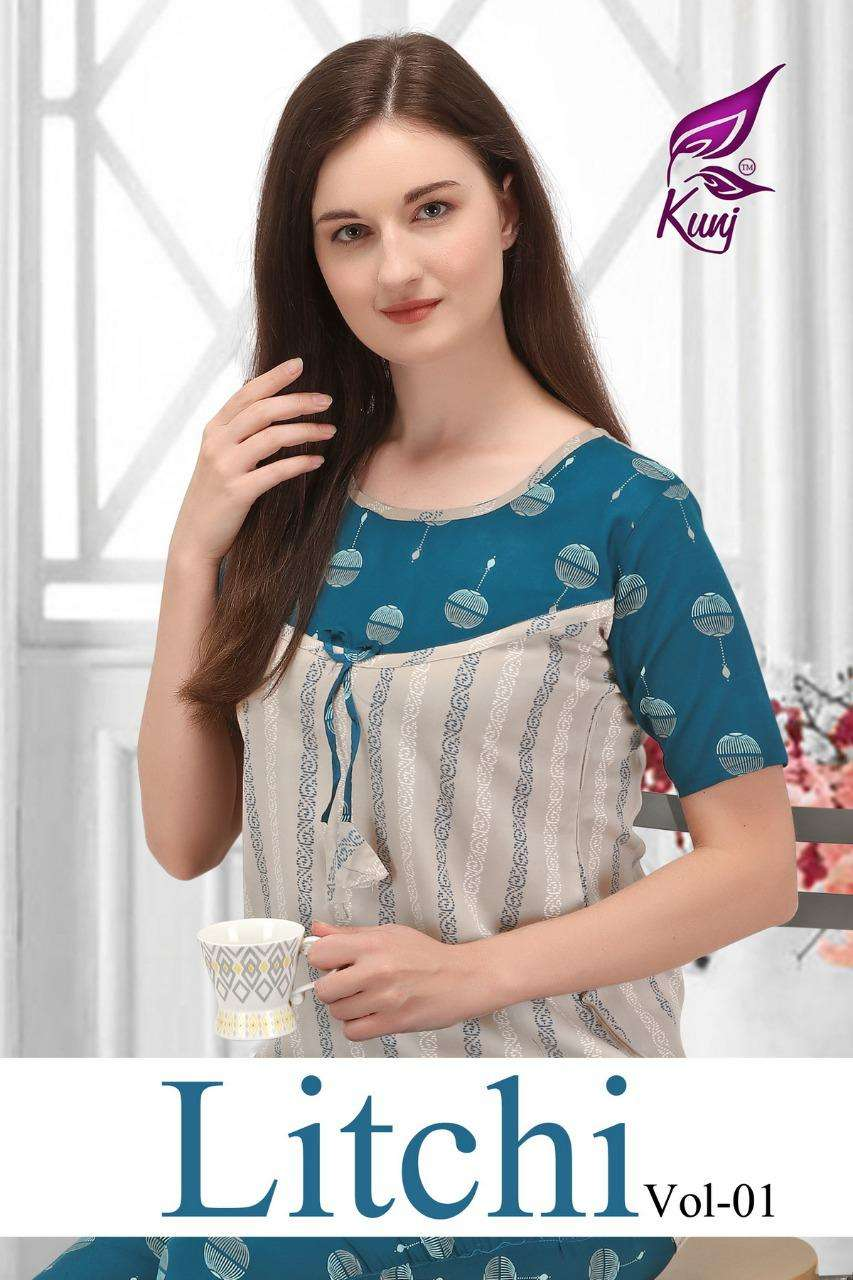 litchi vol.1 by kunj heavy rayon night suit Cataolog Collection Wholesaler Best Rate In Ahmedabad Surat Chennai India Uk Usa Malaysia Singapore Canada Australia