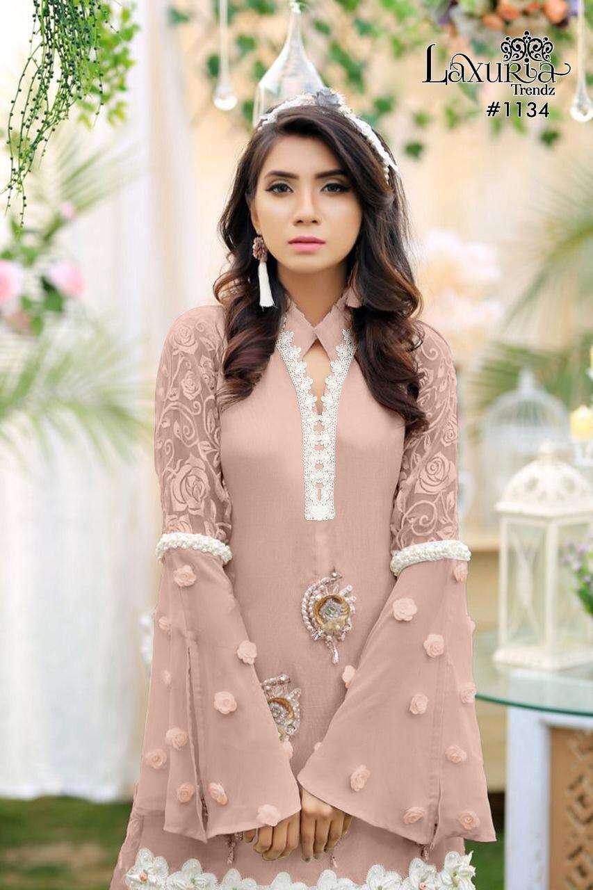luxuria 1134 designer tunic with embroidery plazzo set