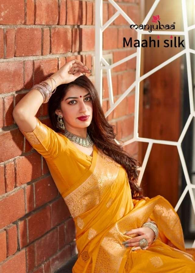 maahi silk by manjubaa 4501-4508 series silk traditional wear fancy saree