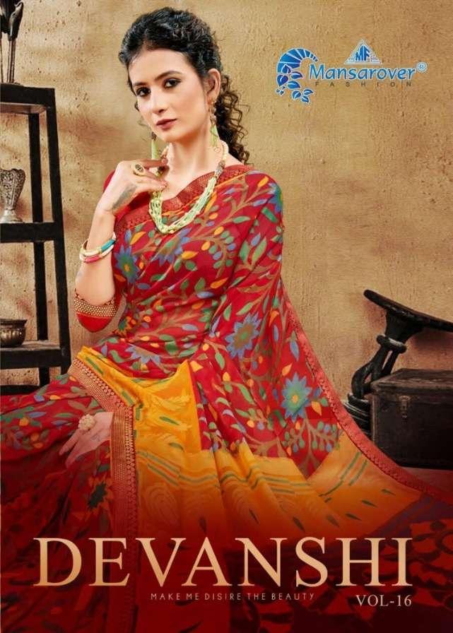 mansarover fashion devanshi vol 16 printed brasso casual wear saree