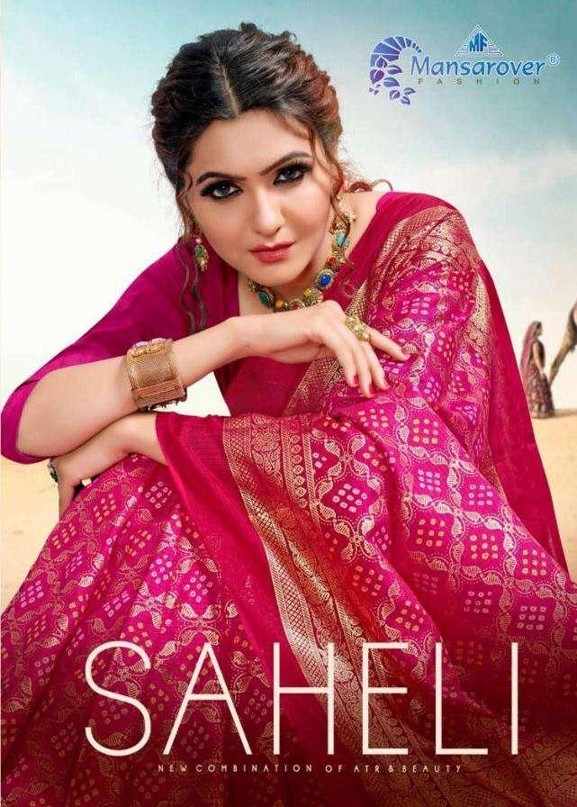 mansarover saheli tapadiya chex bandhani printed traditional saree