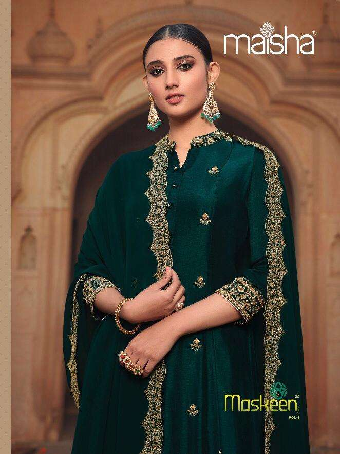 maskeen vol 9 by maisha russian silk long gown with dupatta collection