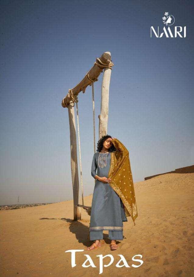naari launch tapas tussar silk coding work latest beautiful dress materials in surat market