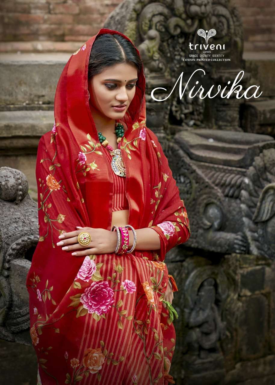 nirvika by triveni cotton linen printed stylish saree exporter