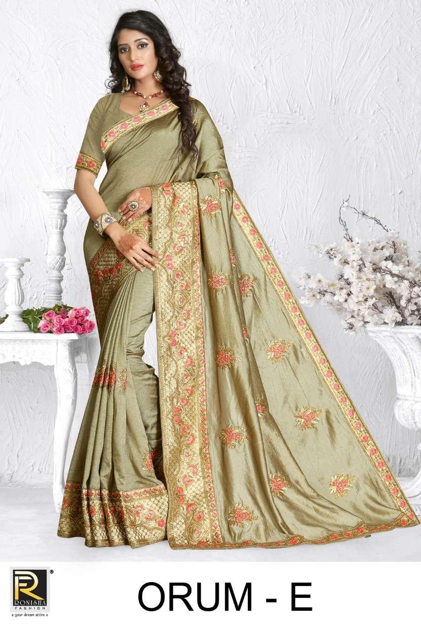Orum by ranjna saree embroidery warked heavy diamond work saree Collection