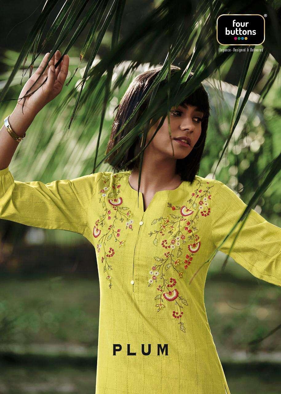 plum by four buttons woven cotton designer ladies kurta collection