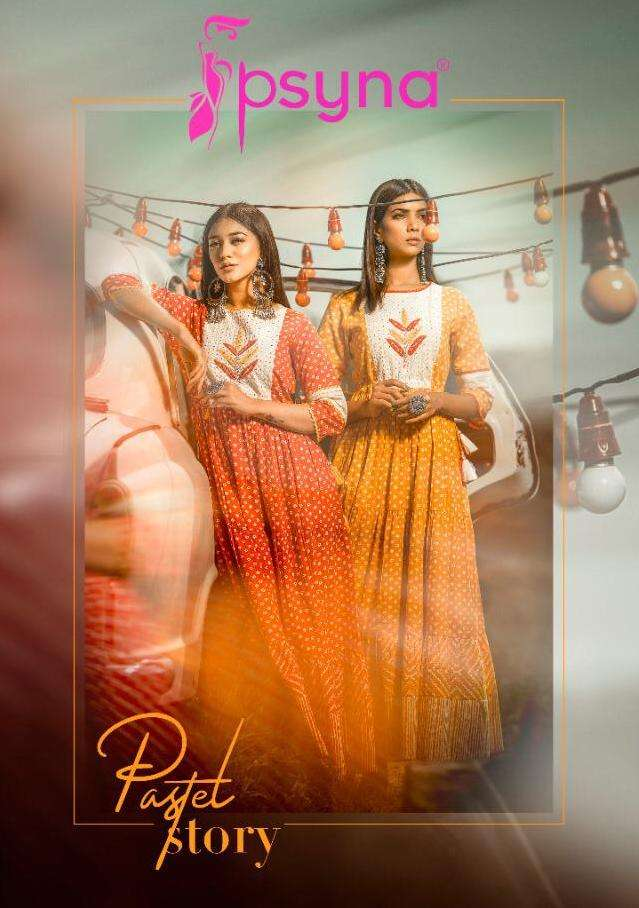psyna kurti gown wholesaler in surat psyna pastel story trendy outfits gown collection