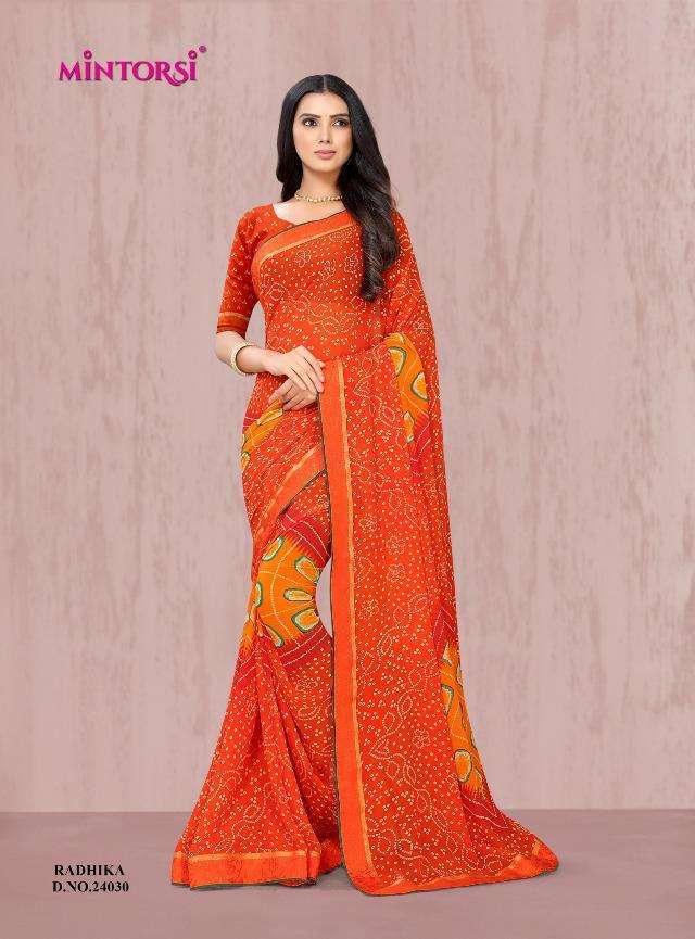 radhika by mintorsi weightless printed bandhani saree wholesaler