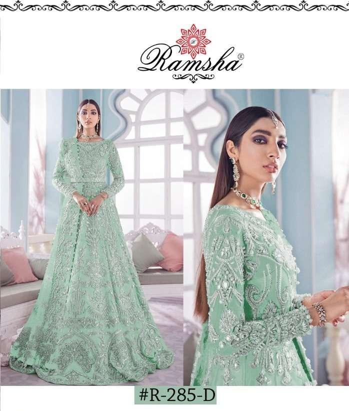ramsha 285 nx net kali style embroidery long suits