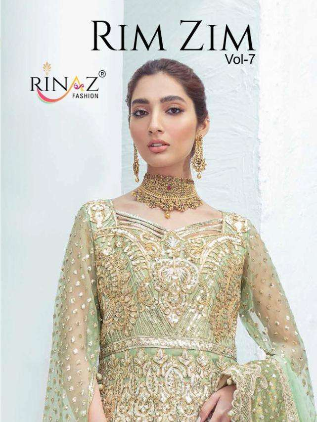 rim zim vol 7 by rinaz net heavy embroidery party wear suits