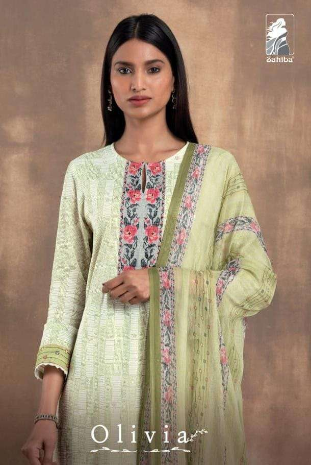 sahiba olivia cambric digital print with handwork suits wholesaler