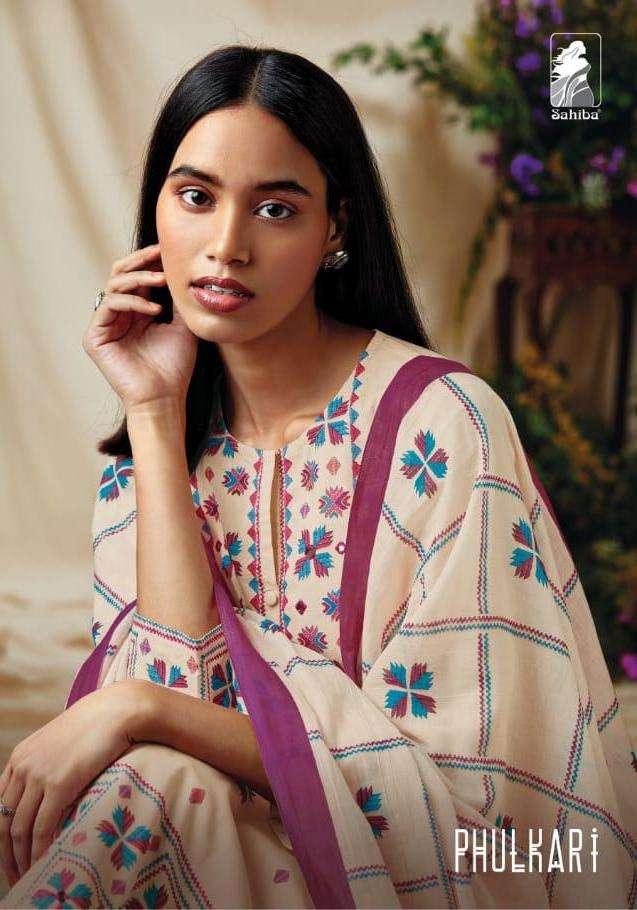 sahiba phulkari cambric cotton handwork dress collection