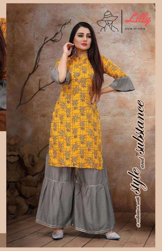 sharara swag vol 3 by lilly rayon printed kurti with sharara collection