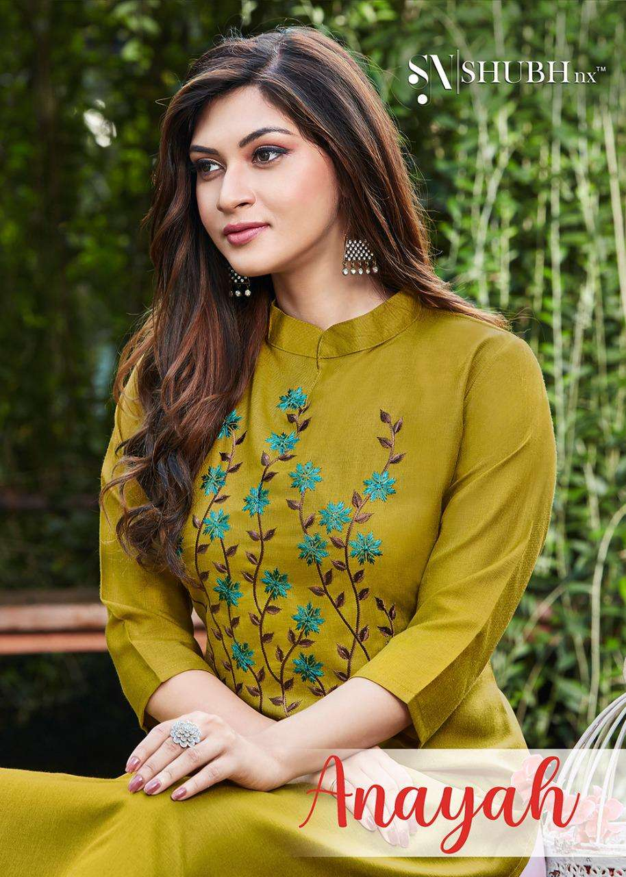 shubh nx anayah slub with embroidery formal wear kurtis