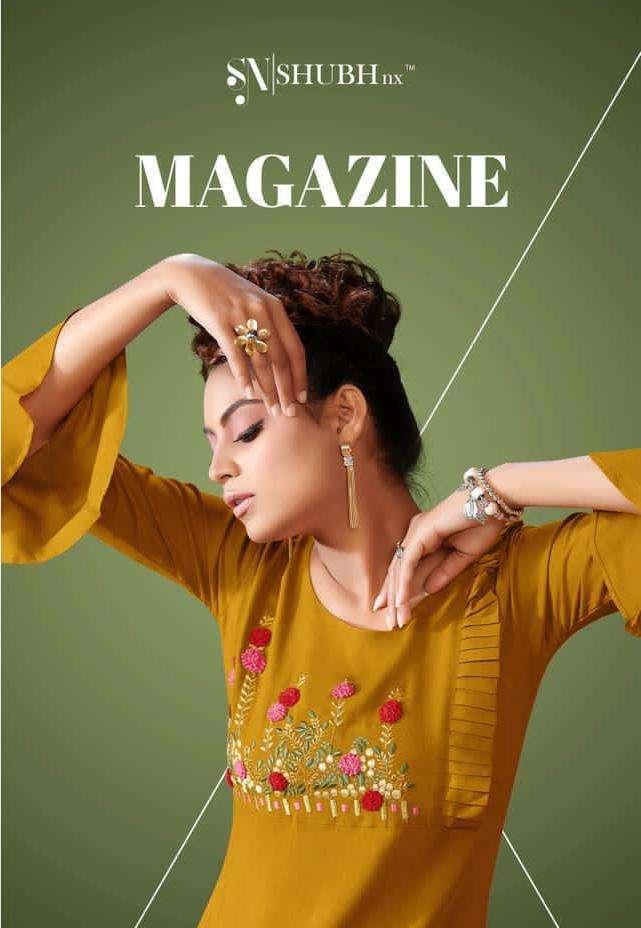 shubh nx magazine rayon slub embroidery formal wear fancy kurtis