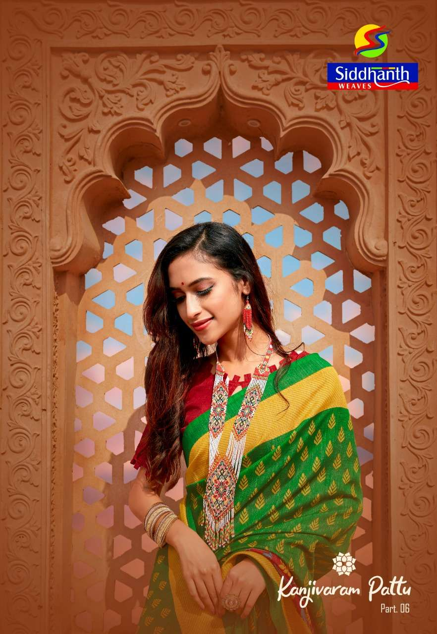 siddhanth weave kanjivaram pattu vol 6 printed cotton saris authorized supplier