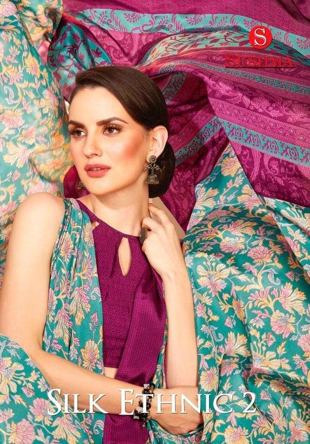 silk ethnic vol 2 by sushma crape printed fancy saree supplier