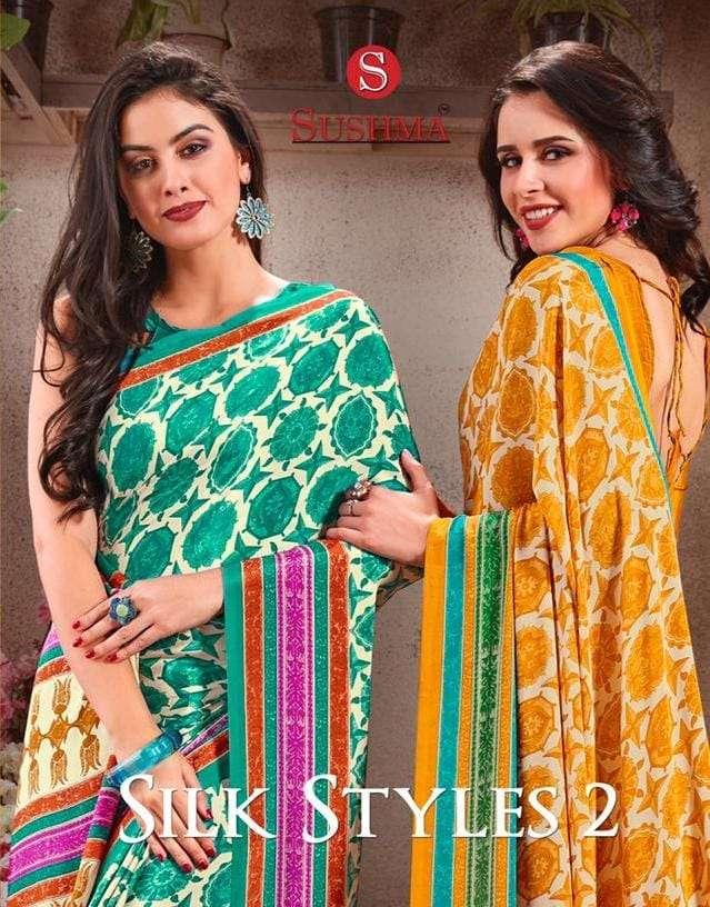 silk styles vol 2 by sushma crape printed daily wear saree