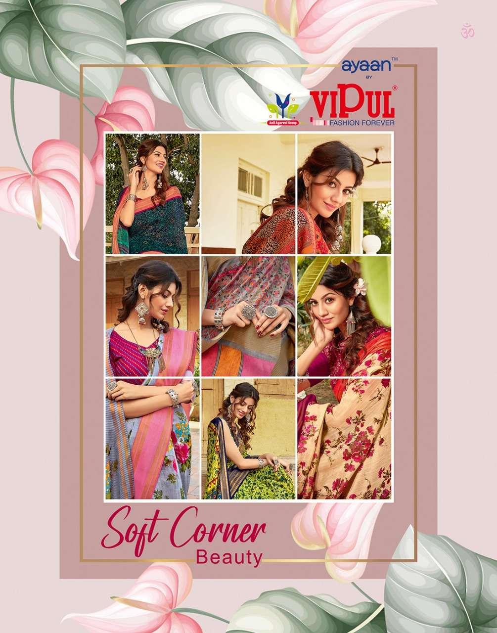 soft corner beauty by vipul weaving linen designer saree