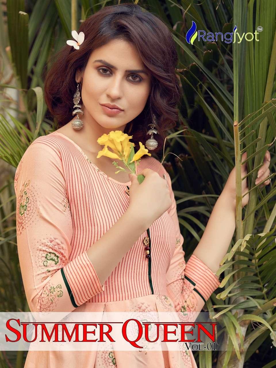 summer queen by rangjyot rayon designer kurti wholesaler