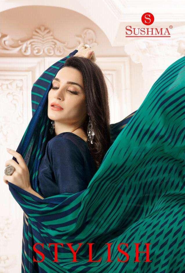 sushma present stylish crape printed formal indian saree