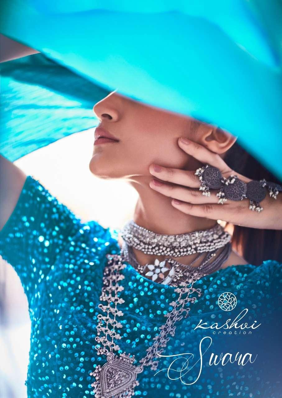 swara by kashvi raibbow chiffon satin saree with designer blouse