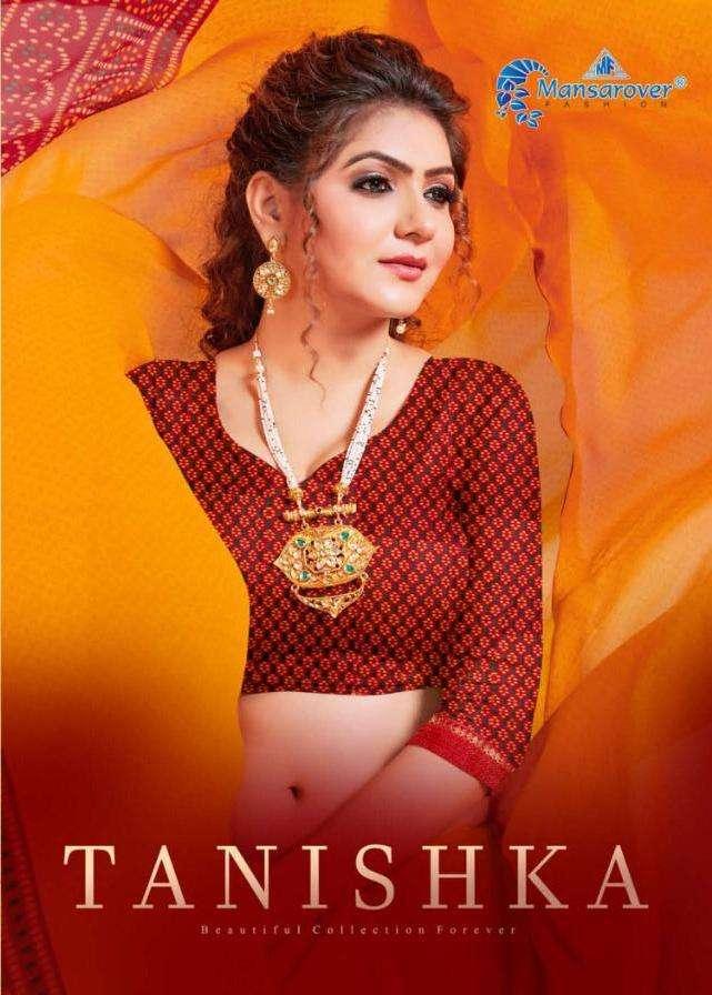 tanishka by mansarover fashion georgette bandhani printed saree wholesaler