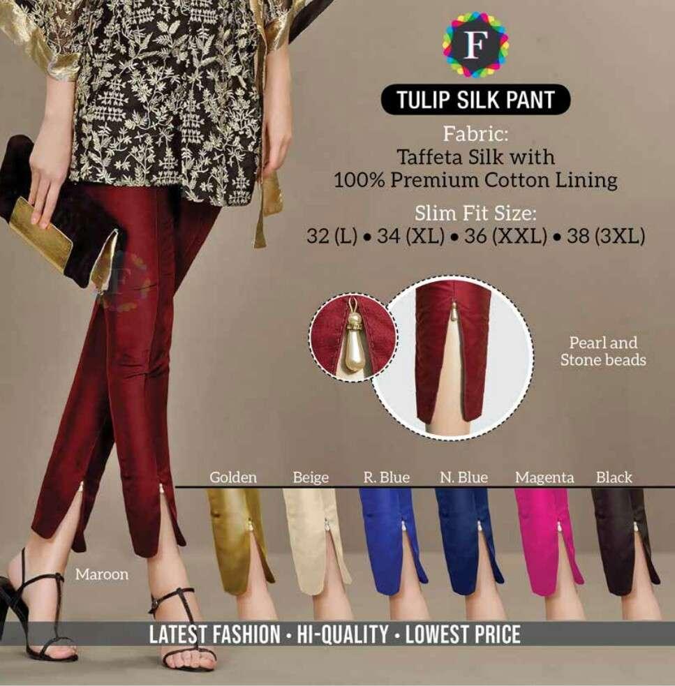 tulip silk pant taffeta silk bottom wear pant collection wholesale