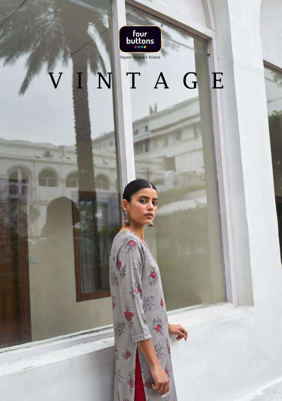 vintage by four buttons cotton daily wear fancy kurtis