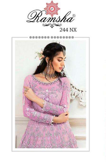 244 nx by ramsha net embroidery long salwar kameez