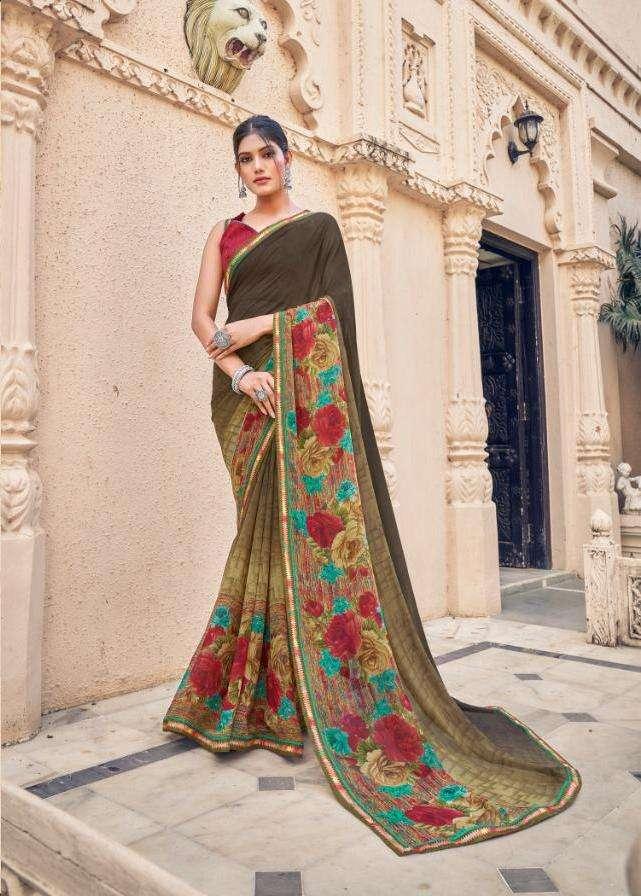 5d present rudraksha georgette printed fancy sarees