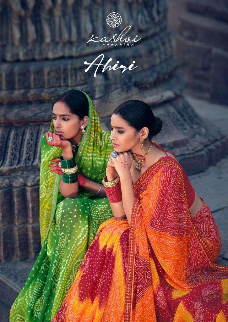 ahiri by kashvi chiffon bandhej printed saree wholesaler