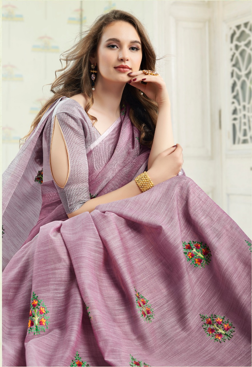 Amyra Vol 2 By Sangam Prints Linen Cotton With Embroidery Saree Collections