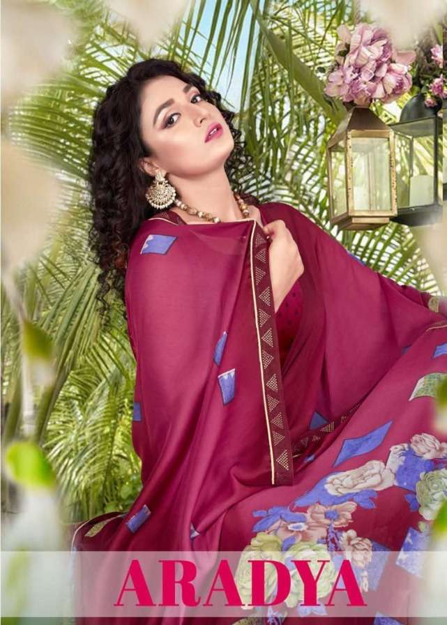 aradya by saroj chines chiffon printed fancy saree