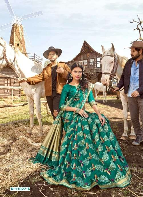 b fine launch art of zari classy look banarasi silk designer saree