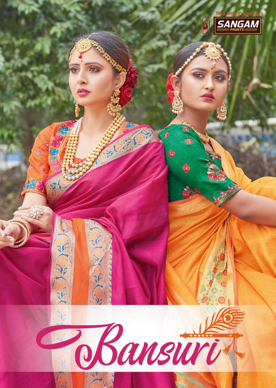 Bansuri Vol 2 By Sangam Prints Handloom Silk With Embroidery Saree Catalogs Supplier