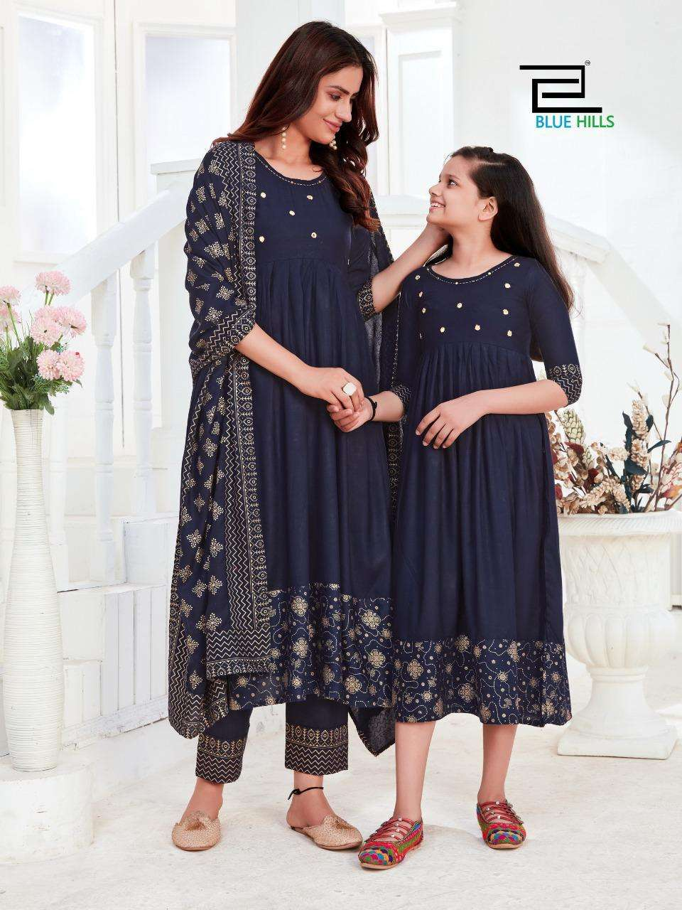 blue hills present like mom like daughter 3 piece readymade suits with child gown