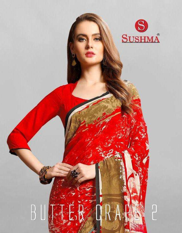 butter crape vol 2 by sushma printed crape daily wear sarees