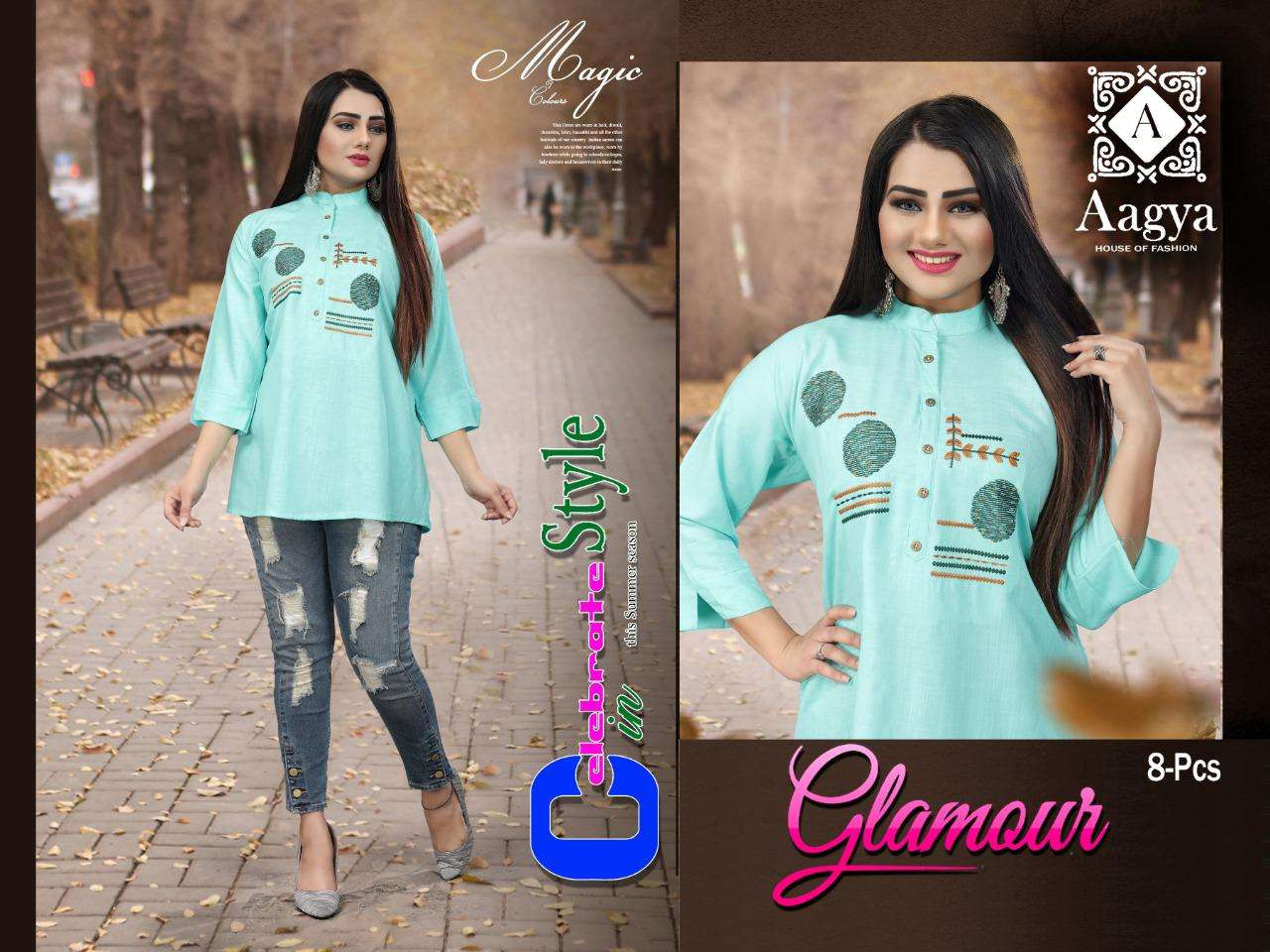 glamour by aagya heavy rayon slub with work short top Catalog Collection Wholesaler Lowest Best Price In Ahmedabad Surat Chennai India Uk Usa Malaysia Singapore Canada Australia