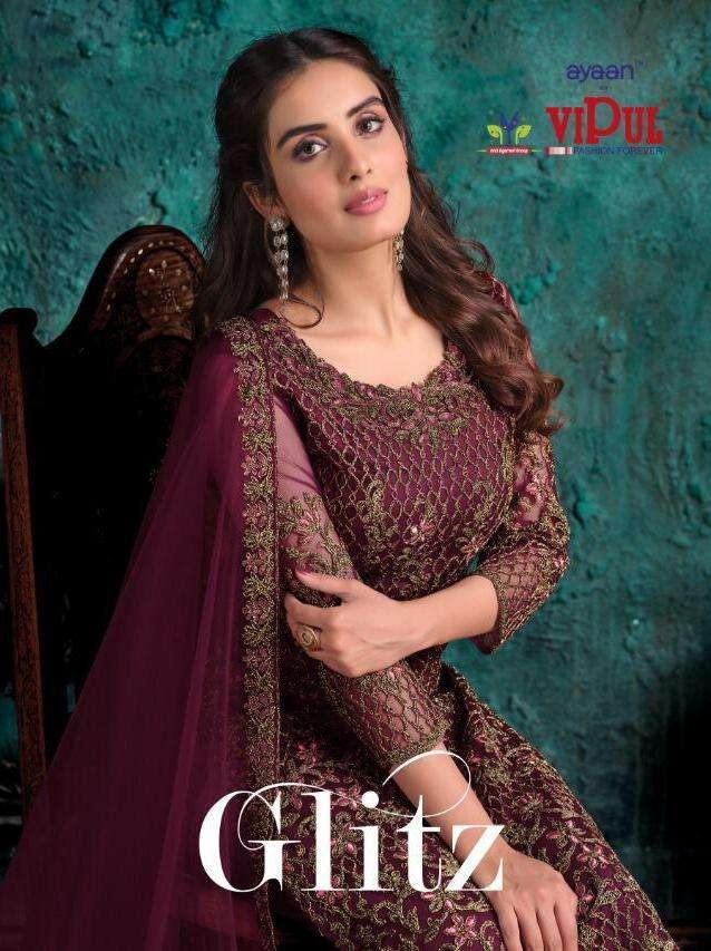 glitz by vipul elegant looking net with embroidery salwar kameez
