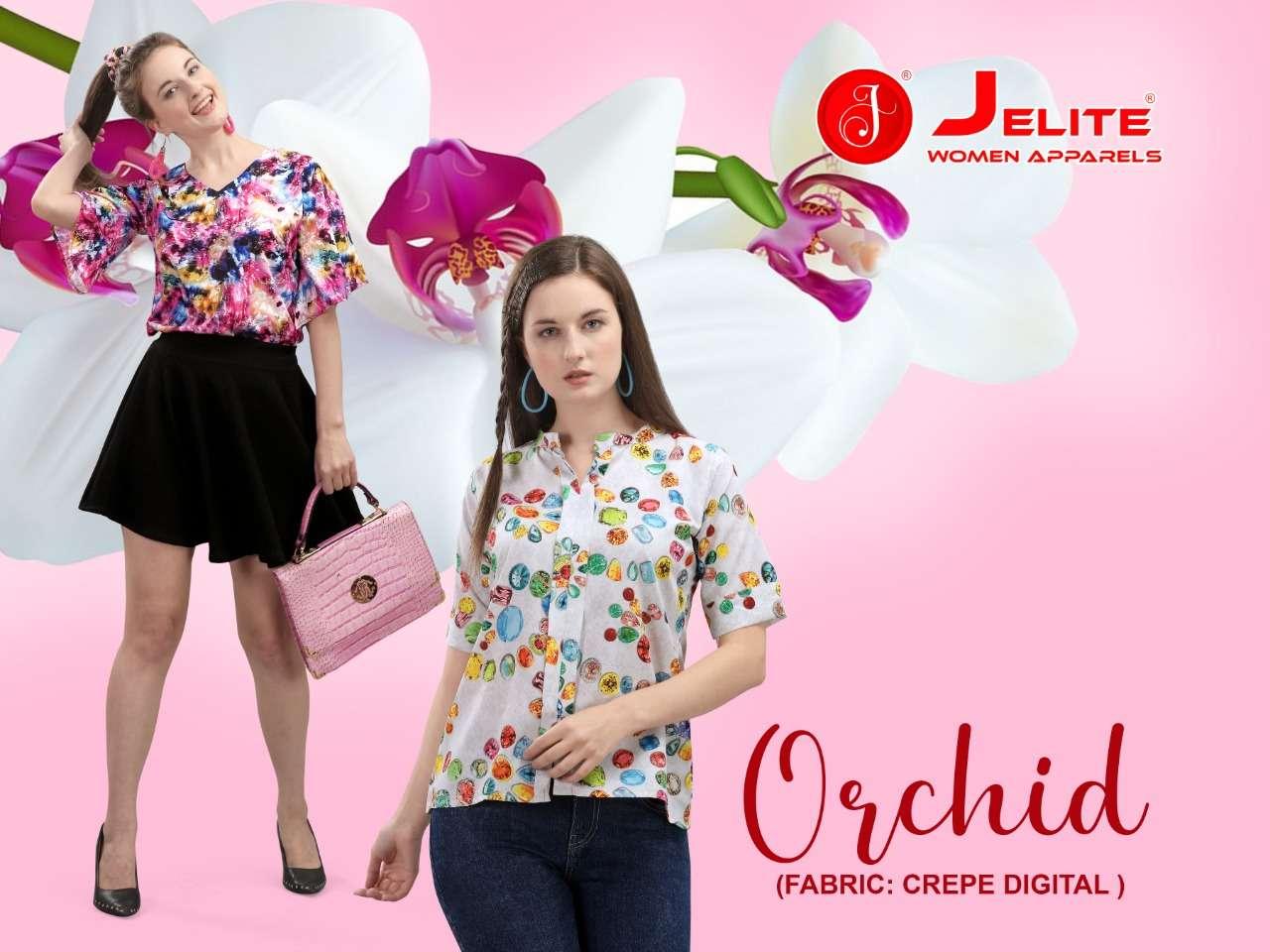 jelite orchid latest digital printed poly crape short tops