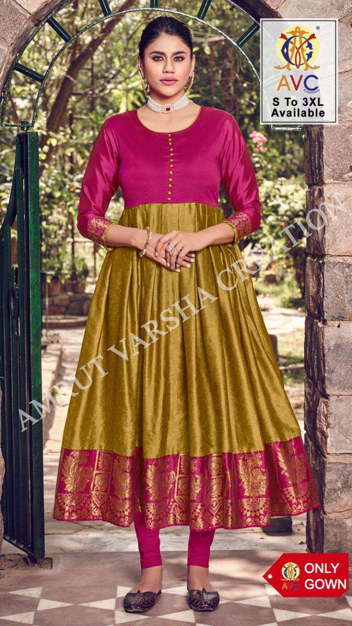 jheel by avc silk jacquard long gown for summer collection