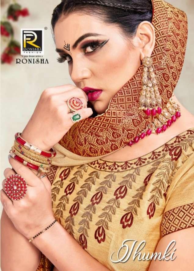 Jhumki by ranjna saree fastive wear stylish border blouse saree Collection