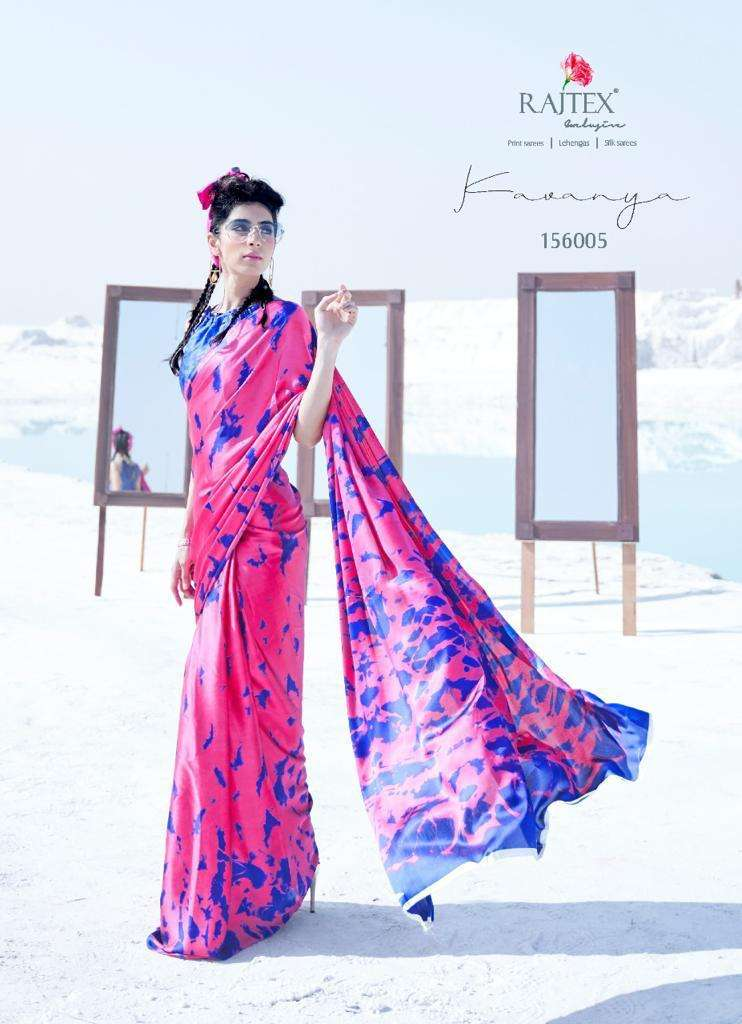 kavanya by rajtex japan satin crape printed fancy sarees